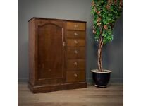 Lovely Small Antique Mahogany Combination Wardrobe Low Tallboy