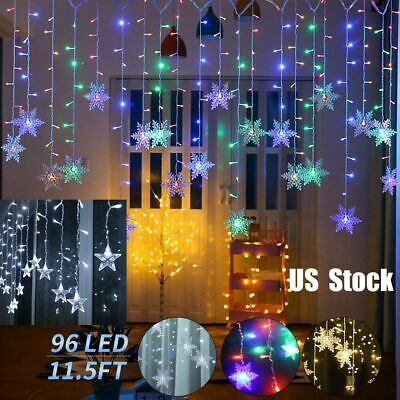 96 LED 11.5FT 8 Modes Snowflake Star Fairy String Curtain Light Party Home Decor Led Lighted Snowflake