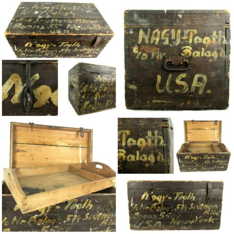 Antique BRONX NEW YORK CHEST HUNGARIAN BALOGH Immigrant Box Trunk Urban Design