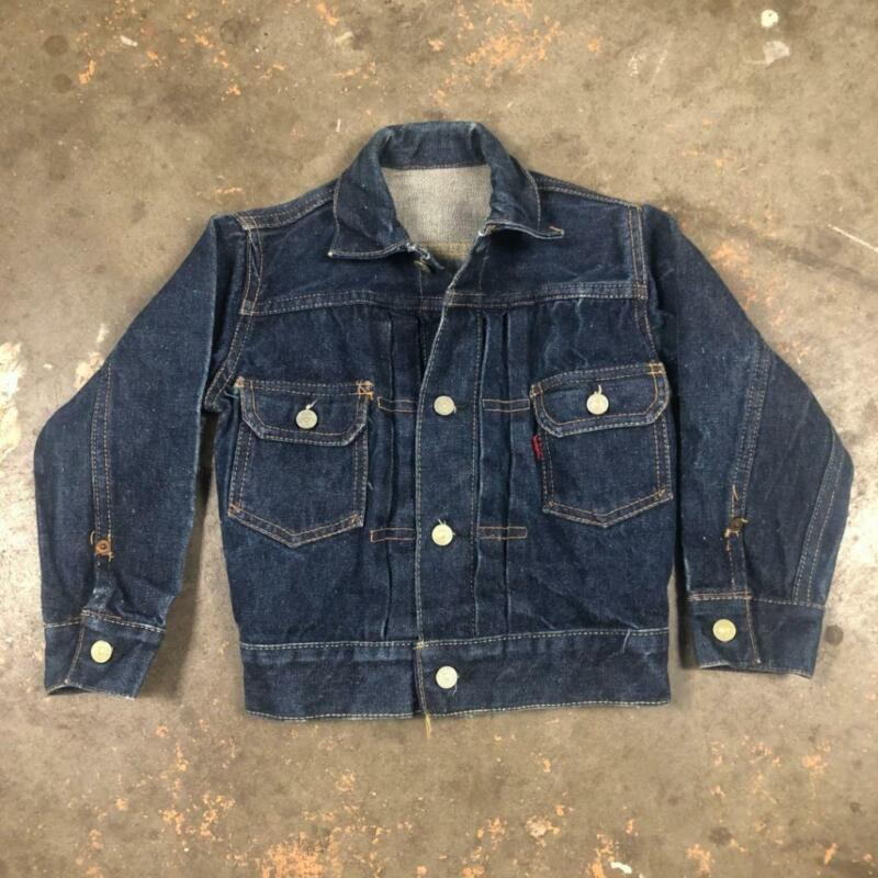 VINTAGE 50S KIDS LEVIS TYPE 2 507 BIG E SELVEDGE DENIM TRUCKER JACKET