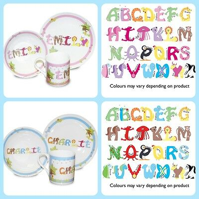 CHILDRENS BOYS GIRLS PERSONALISED DINNER SET 1st Birthday Christening Gift Idea - 1st Birthday Girl Ideas