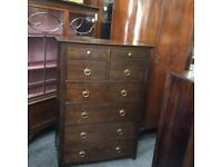 Large solid fruitwood chest of drawers