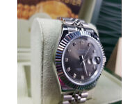 Rossco's Purveyors of Quality Watches . Rolex Datejust Silver Jubilee Dark Grey Face Diamond Markers