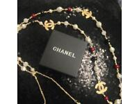 Chanel red pearls