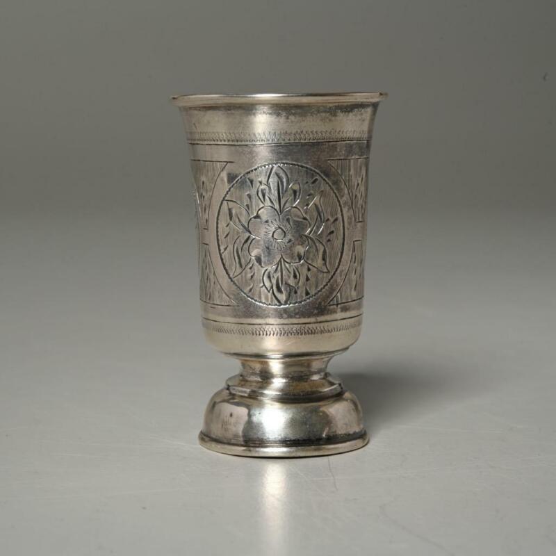 ANTIQUE 84 RUSSIAN SILVER KIDDUSH/TOASTING CUP AK 1879 MARK, JUDAICA