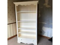 Large Solid Pine Painted Bookcase - good quality