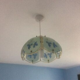 x 4 Blue floral design glass (Tiffany style?) lightshades.