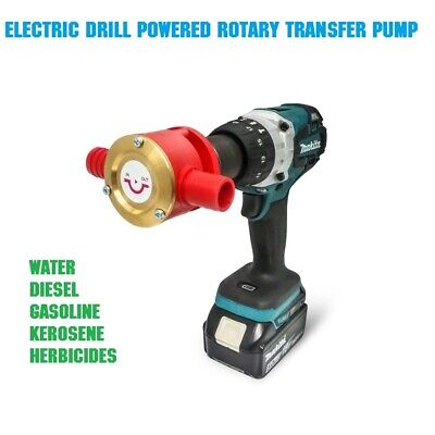 Pump Rotary Transfer Powered Electric Drill Water Diesel Gasoline Kerosene New