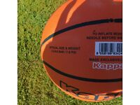 For sale 2 x Kappa basketballs and hand pump with needle adapter.