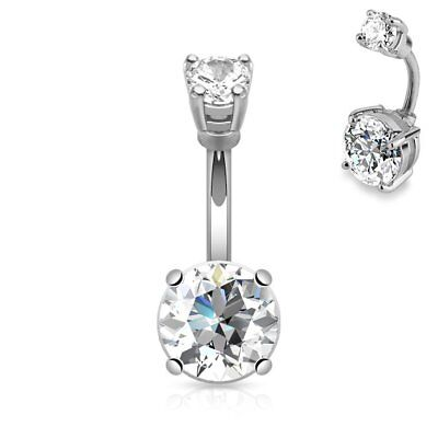 Navel Belly Button Ring • Surgical Steel: Large Prong Set Double - Jewelled Belly Button