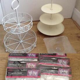 80 cupcake boxes and 3 cake stands £10 the lot