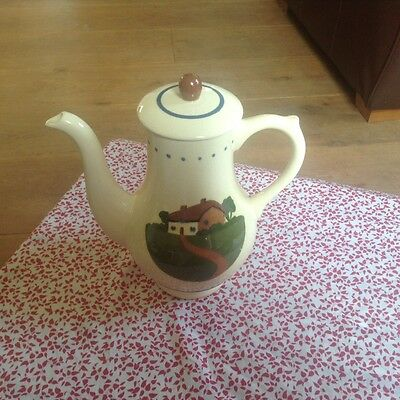 LARGE VINTAGE DARTMOUTH POTTERY TORQUAY MOTTO WARE COFFEE POT NICE CONDITION