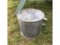 Vintage Galvanised Plant Pot Tub Planter Garden Feature