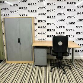 Senator Jigsaw Desk, Cupboard and Pedestal