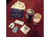 Seaside theme bundle - lamp, light shade, bean bag, cushion, hooks and signs