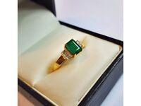 Emerald & Diamond Engagement Ring | Size O | 18ct Gold
