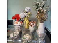 Selection of vases and flowers