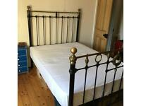 Antique Victorian double cast iron and brass bed