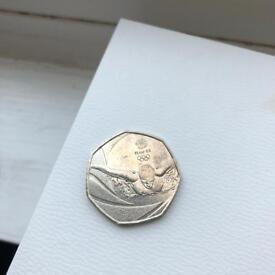 TEAM GB olympics swimming rare 50p coin