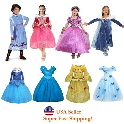Sleeping Beauty Rapuzel Bella Cinderella Esla Anna Princess Costume Girls Dress ](Princess Girls Costume)