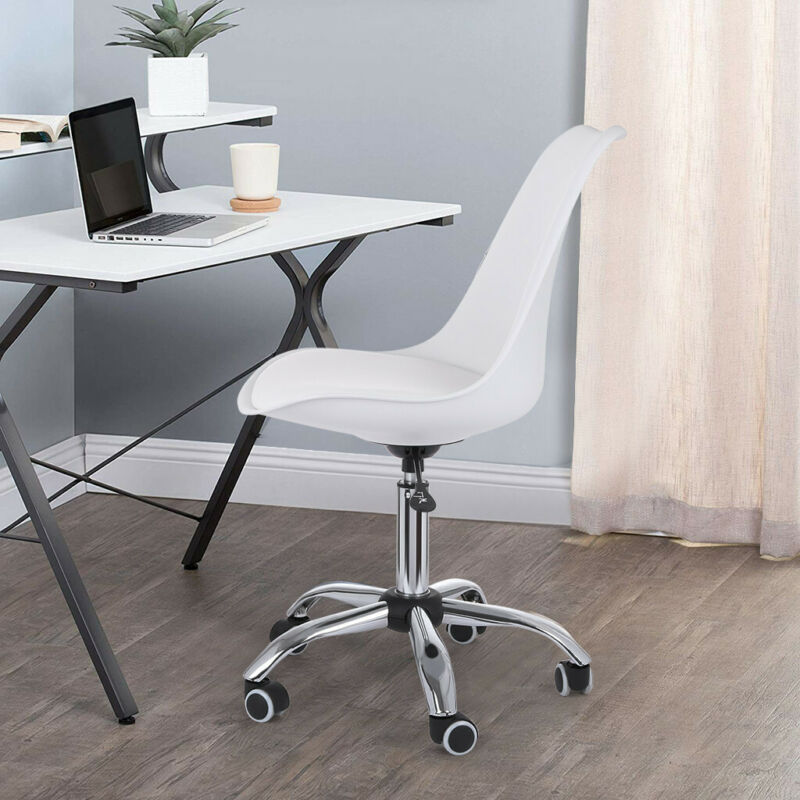 Upholstery White MidBack Office Desk Chair Height Adjustable