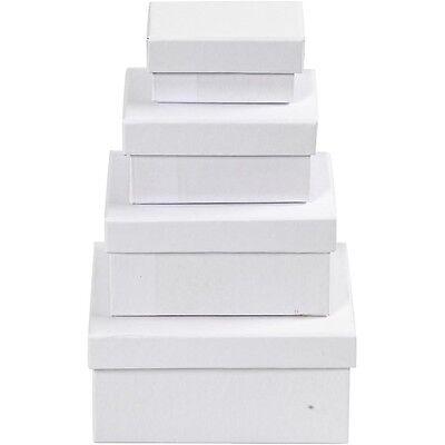 White Cardboard Box Set of 4 - Small Medium Large - Rectangular Decorate Gift
