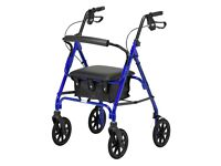 Days 100 Series Lightweight Rollator, with solid tyre wheels, rest seat and storage bag.