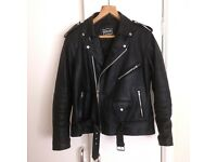 Mens Leather (cowhide leather) Brando Classic Biker Motorcycle Jacket XL