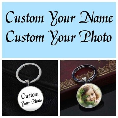 Custom Photo DIY Personalised Picture Keychain Silver Key Ring Pendants Gifts - Diy Keychain