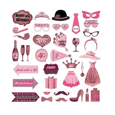 Favors For 40th Birthday (37PCS 40th Forty Year Birthday Party Masks Favor Photo Booth Props For)