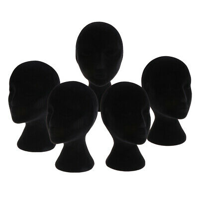 5xfemale Foam Mannequin Manikin Head Model Wigs Glasses Display Stand Black