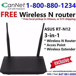 FREE Asus RT-N12 3-in-1 wireless router with any Cable internet plan $30/month and up, call 1-800-880-1234 to order