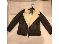 Brown boys leather jacket with wool inside