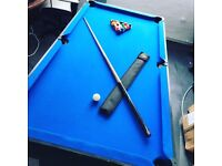 American Pool Table with Balls, BCE Cue & Case