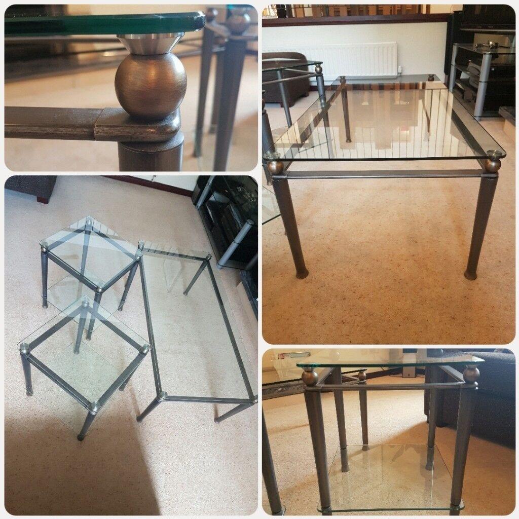 Glass Coffee Table And 2 X Side Tables In Milton Keynes Buckinghamshire Gumtree