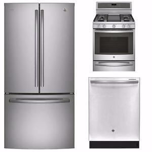 Kit cuisine acier inox : Frigo 33'', cuisinière 30'' et lave-vaisselle 24'', GE Profile