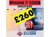 iPHONE 7 32GB & 128GB, WITH SHOP RECEIPT & WARRANTY, GOOD CONDITION, UNLOCKED, GENUINE PHONES