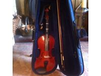 Primavera 4/4 violin with bow, case, shoulder rest and chin rest, plus collapsible music stand