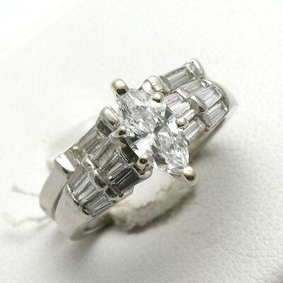 Vintage platinum diamond wedding set 2 carat marquise baguette engagement ring
