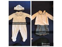 baby bebe velour grow with hat and spanish shirts & shorts set upto 3 months