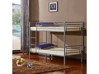 BRAND NEW ** SINGLE METAL BUNK BED WITH MATTRESS FREE DELIVERY