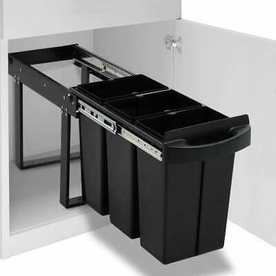 vidaXL Kitchen Cupboard Pull-out Recycled Dustbin Soft-Close 36L Rubbish Bin