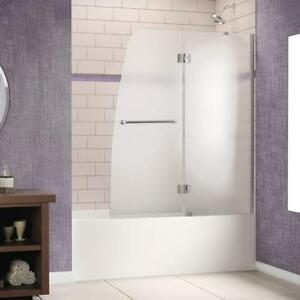 New DreamLine Frameless Hinged Tub Door 48 x 58 Frosted 1/4 Glass Door Chrome Finish (Pick-up Only) -