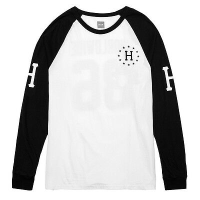 Huf Audible White Black Screenprint Long Sleeve Raglan Mens T Shirt