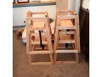 4 STACKABLE CHILDS HIGH CHAIRS FOR SALE