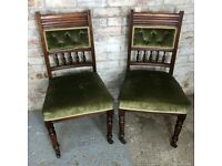 2X Antique Vintage Spindle Back Green Velvet Dining Chairs with Wheels