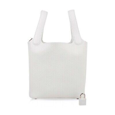 Hermes Picotin Lock 18 Bag White Tote Clemence Palladium Hardware New