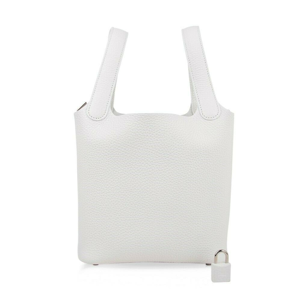 Hermes Picotin Lock 18 Bag White Tote Clemence Palladium Hardware New