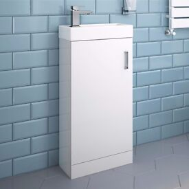 Modern High Gloss White Slimline Basin Vanity Unit - Floor Standing - Bathroom Furniture RRP £80