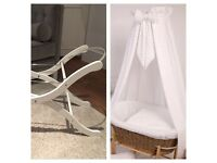 Baby item clear out: Moses basket stand & white canopy with rod and base